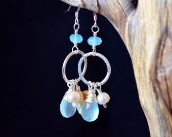 By the Sea Shore- Mother of Pearl, Aqua Chalcedony, Pearl beach theme earrings, cluster earrings, gemstone hoop cluster