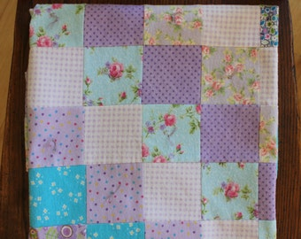 Baby Quilt - Flannel Quilt - Purple Baby Quilt - Baby Girl Quilt - Receiving Blanket - Patchwork Quilt