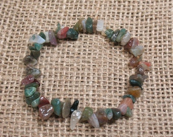 "Fancy Jasper Chip Stretch Bracelet - 6.5"" - Item BR019"