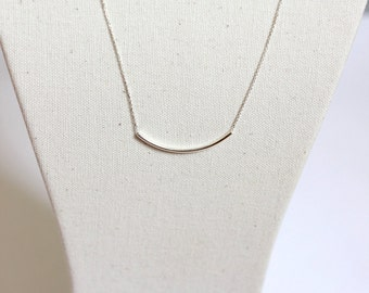 Necklace long tube curved Silver 925