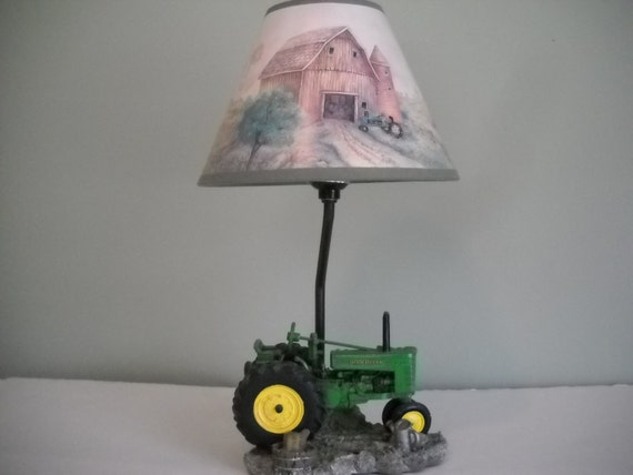 Vingage John Deere Table Lamps : John deere tractor lamp with matching shade