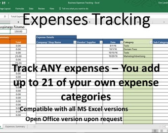 Business Expense Tracking, Overhead Expense Categories