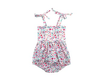 Bubble Romper, Sunsuit, Baby Bubble Romper, Toddler Bubble Romper, Baby Sunsuit, Toddler Sunsuit, Girls Romper, Bonny Blooms Floral Romper