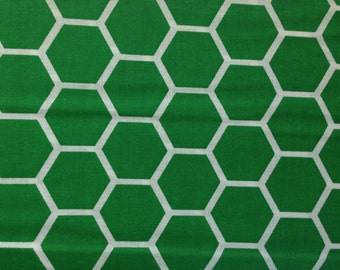 Green fabric by the yard - green honeycomb fabric - green cotton - #16430
