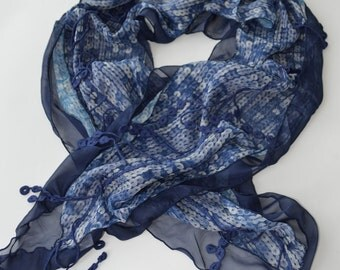 CLEARANCE SALE - Blue Lace Scarf  - Soft Knit Fabric Scarf - Dotted Scarf - Cowl Scarf - Shawl Scarf - 957