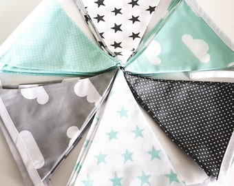 Nursery bunting, decoration, modern grey, mint and white print, stars, clouds and dots. Nursery decor, kids room.