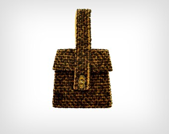 40s Purse // 1940's Brown Tweed Tapered Box-Style Handbag