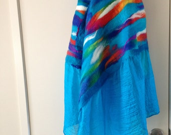 Nuno felted wrap around shawl