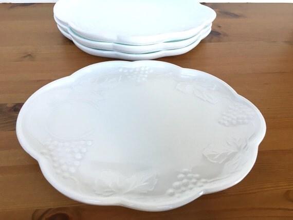 Vintage milk glass snack trays set of 4 Colony plates Harvest pattern