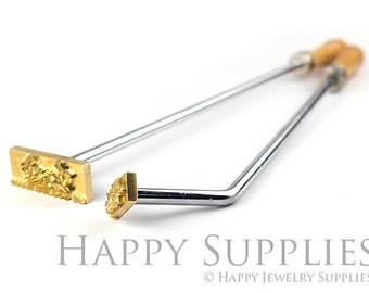 Customized Branding Iron Brass Leather Stamp / Custom Food Heat Embosser / Wood Embossing Stamp with Wooden Handle