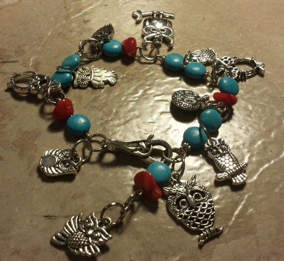 Silver, Turquoise and Coral OWL Bracelet