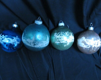 Vintage 1950s Glass Christmas Ornaments
