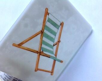 Beach, Beach Chair, Fused Glass, Night Light, Lace, Beach House Gift, Seaside, Coastal Beach Decor