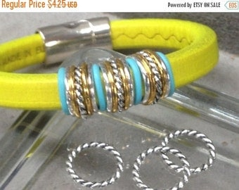On Sale NOW 25%OFF Twisted Ring Spacers For 10x6mm Licorice Leather Silver Z1432 Qty 10