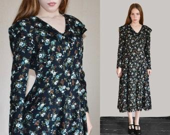 Vintage soft grunge dress 90s floral dress 90s dress small XS 90s clothing Soft grunge clothing