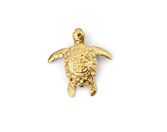Solid 14K Yellow Gold Little Turtle Charm/Pendant