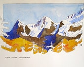 Eiger and Monch, Switzerland. Original pen and watercolour painting.