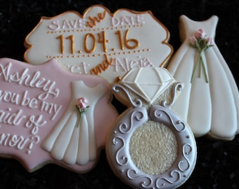 Save the Date Cookies, will you be my bridesmaid cookies, wedding ring cookies, Save the Date,  wedding dress cookies, custom cookies