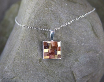 Mosaic Necklace: Shades of Gold and Brown