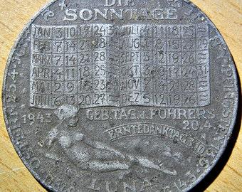 "1943 Degussa ""LUNA"" Calendar Medal By Austrian Mint Lists The Fuhrer's Birthday"