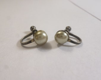 Vintage Stamped Signed Sterling Silver .925 Pearl Style Screw Back Earrings