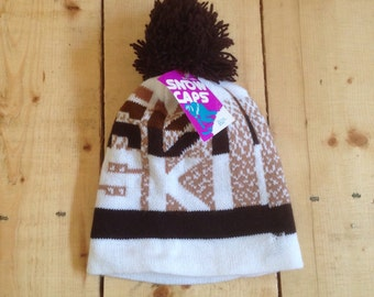 Vintage 70s 80s Pixelated 8 Bit Font Brown and Tan Knit Ski Hat / Winter Beanie / Toque