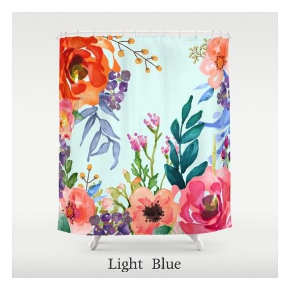 Bright Pastel Floral Custom Made Shower Curtains Unique