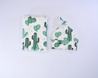 Jade Cactus Swaddle Blanket, Cactus Swaddling Blanket, Receiving Blanket, Baby Swaddler, Lightweight Cotton Blanket, Desert Baby Swaddle