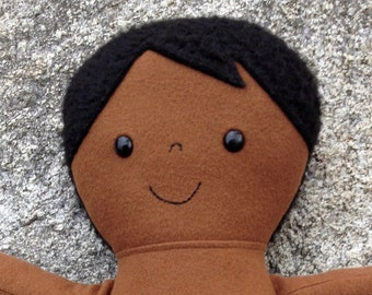 Cooper, Dress Up Bunch, Rag Doll, Handmade, Dark Skin, Boy Doll with Snap Closure Shirt and Overalls