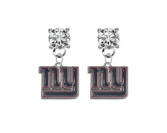 New York Giants Crystal Post Stud Dangle Earrings (Pick Your Colors - Mix or Match Team Colors) Football