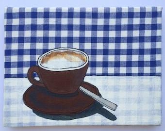 Coffeetime - blue, textile on canvas, acrylic painting