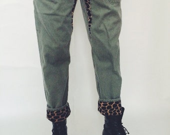 Koto You Can Sit With Us Leopard Detail Denim Pants