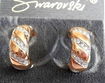 Signed D. Swarovski Post Earrings Gold Plated with Pave Crystals  - New (D)