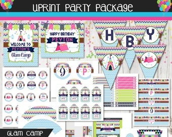 Glam Camp Party Package - Glamping Party Kit - Girls Camping Party - Sleepover Party