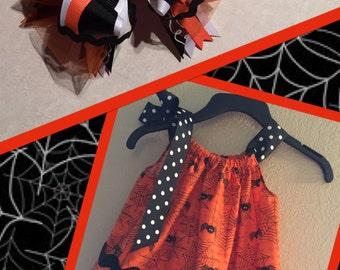 Fun Little Girls Halloween Dress with Matching Bow