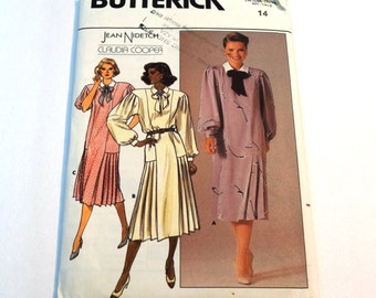 Vintage 1980s Butterick 3525 loose fitting, straight dress with lower side pleats sewing pattern