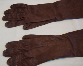 Women's vintage brown kid opera length gloves size 6