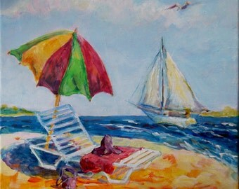 Beach umbrella with red hat and sailboat in carolina  original painting acrylic on canvas 12x12