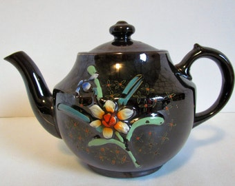 Vintage Occupied Japan Brown Teapot Hand Painted Redware Ceramic Collectible Gifts