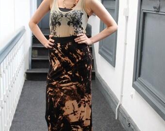 Handmade retro stretchy long black bleached maxi skirt
