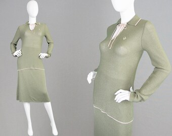 Vintage CHRISTIAN DIOR 70s Skirt Suit Two Piece Jersey Knit Sweater & Skirt Logo Ensemble Tunic Top French Designer Made in Italy 1970s 2pc