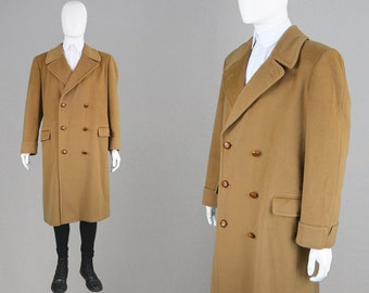 Vintage 80s VALENTINO Mens Coat Wool Overcoat Double Breasted Coat Mens Camel Coat Designer Coat Warm Winter Coat Mod Coat Made in Italy