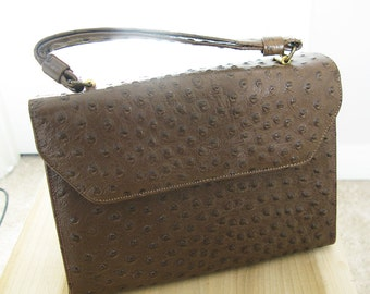 1960's bellstone ostrich leather handbag