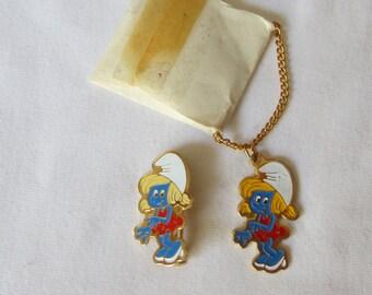 Vintage Estate  1980 Peyo Smurf Smurfette Female Enameled Necklace Pendant and Pin