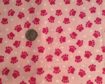 Pink Dog paws Flannel Fabric, dog fabric, pink flannel