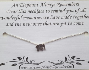 Best Friend Necklace, Elephant Memory Necklace, Graduation Necklace, Friendship Charm Necklace, Bridesmaid Gift, Lucky Elephant