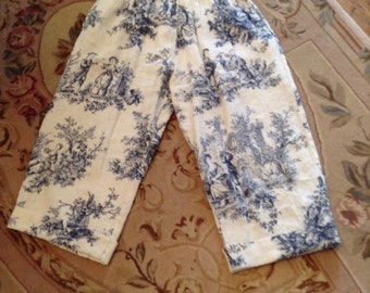 Angel's Tea Party Capris, whimsical Toile Print, S-M.