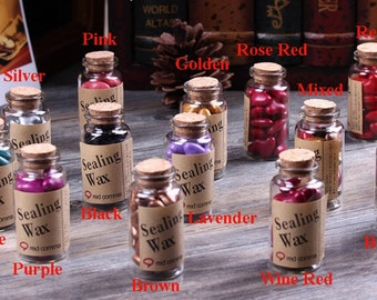 Sealing Wax in Bottle - Seal Wax Heart Beads - Stamp Wax - 12 Colors to Choose From