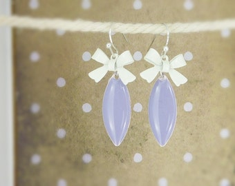 Earrings • Rockabella • bows purple white