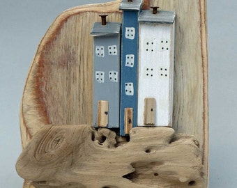 Wall hanging little houses on Driftwood # 374